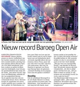 'Nieuw record Baroeg Open Air' | Gepubliceerd in RD 23 september | Artikel over de zesde editie van het jaarlijks gratis openluchtfestival Baroeg Open Air in het Zuiderpark